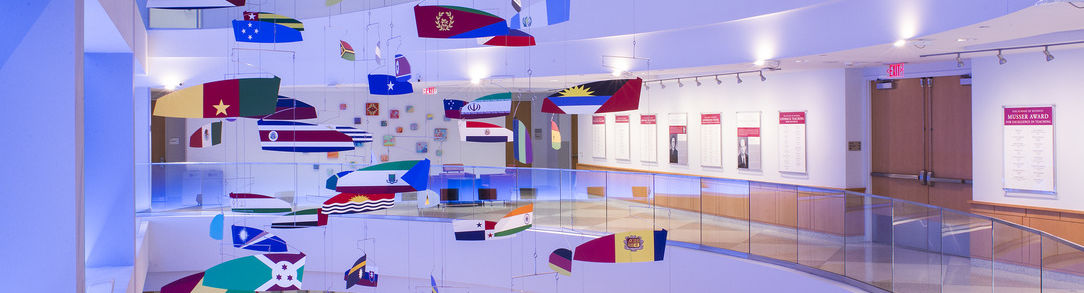 flags of many nations in Alter Hall
